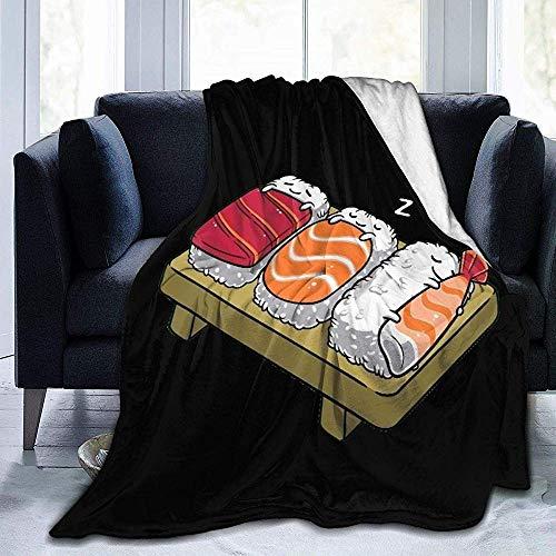 Amanda Walter Lachs Sushi Reis Flanell Decke gemütliche gemütliche Sofa Decke Bequeme Runde Decke weiche haltbare Fleecedecke