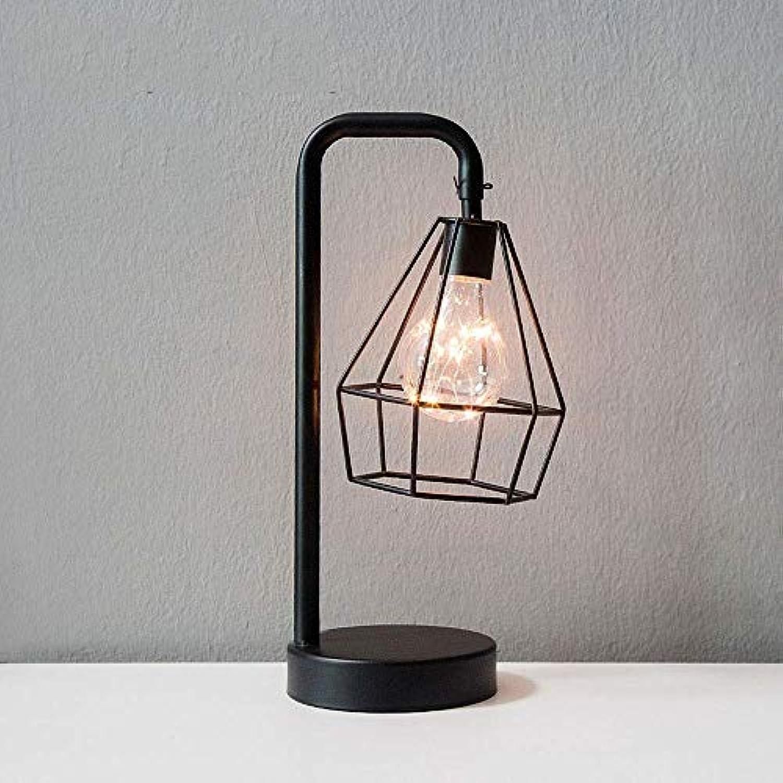 Unbekannt Liang Diamant-Eisen-Tischlampe, Eisenbirne Nachtlicht Nordic Nachttischlampe mit batteriebetriebener dekorativer Beleuchtung für Schlafzimmer, Wohnzimmer, Bar, Hotel