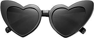 نظارات شمسية نسائية Vintga أسود وردي أحمر على شكل قلب نظارات شمسية (C1)