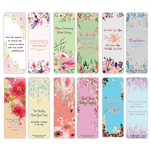Creanoso Inspiring Inspirational Positive Quotes Flower Themed Bookmarks (30-Pack) - Encouraging Motivational Bookmarkers for Women, Teens, Adults - Great Gift Ideas for Parties and Special Occasions