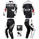 O'Neal Element Racewear Black/White Men motocross MX off-road dirt bike Jersey Pants combo riding gear set (Pants W36 / Jersey Large)