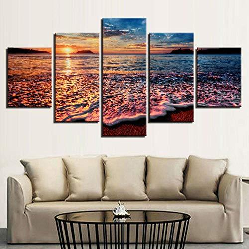 Mural Moderno 5 Piezas Puesta de sol Paisajes marinos Olas del océano Splash Beach Shore Frame Pinturas Arte de Pared Impreso en HD Dormitorios Decoración para El Hogar -No Tejido Lienzo Impresión