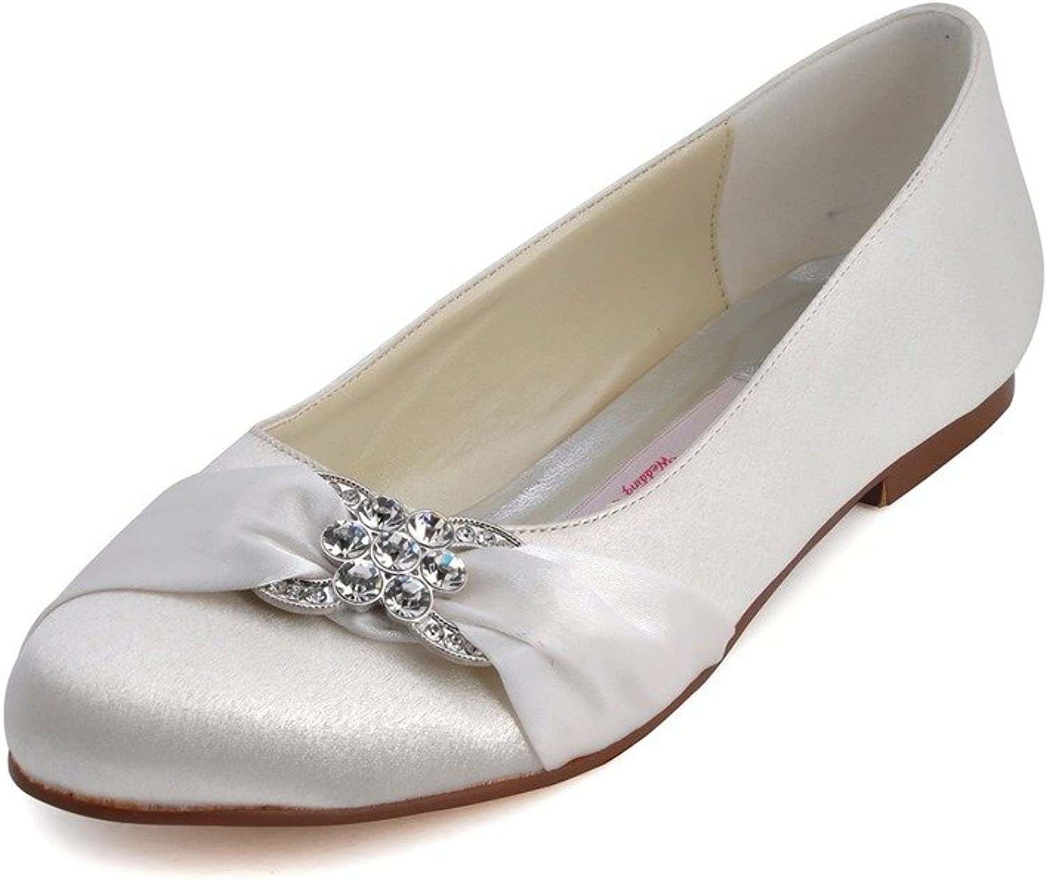 Elegantpark Women Closed Rhinestones Comfort Flats Pleated Satin Wedding Bridal shoes