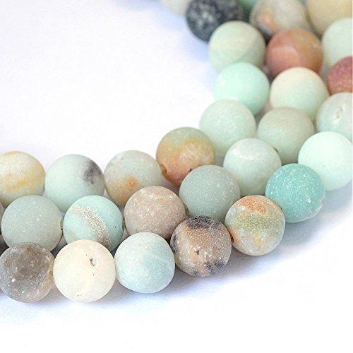 Perlin - 50 pezzi, perle in amazzonite, da 4 mm, satinate, grado A, pietre naturali