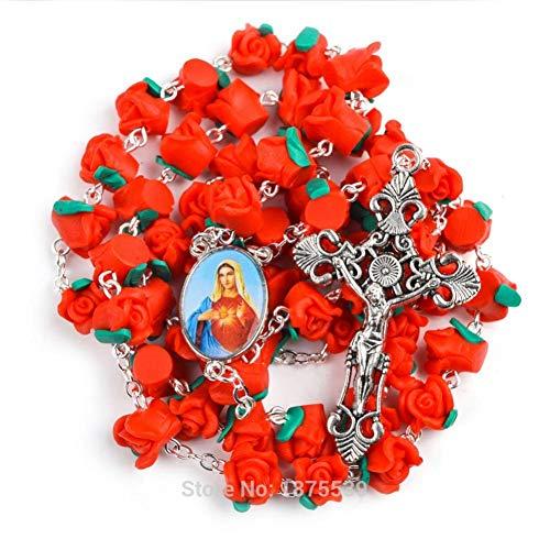 Collar Cruzado Grano De del Rosario De Fátima Rojo Polímero Collar del Rosario De Mujeres Regalos para Mujeres