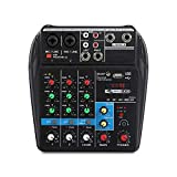 Gadget Wagon 4 Channel Mixing Console Aux Paths Plus Effects Processor Mini Micro Small Audio Mixer Console with Bluetooth USB