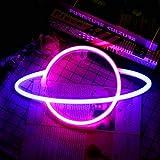 Wovatech Insegne al neon del pianeta - Luci per insegne al neon con base Lampada da tavolo a led Luci blu Rosa Luce notturna - Funziona a batteria o USB per la decorazione della camera dei bambini