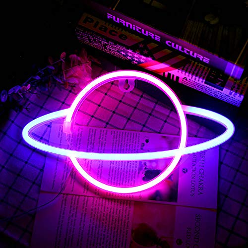 Hangrow Planet Neonlichter, LED-Schilder Neonschilder für Wanddekoration, USB-Aufladung/Akku, Planet Nachtlampe Neon Bar Schild Leuchten Buchstaben Wandleuchten, Neon Schilder, Neon Gaming Schild