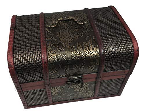 Le Petit Mitron Coffret Antique Bronze- Lot de 3 boites de Rangement Style Vintage - Coffrets en Bois - idéal rangements Divers : Bijoux, cosmétiques.