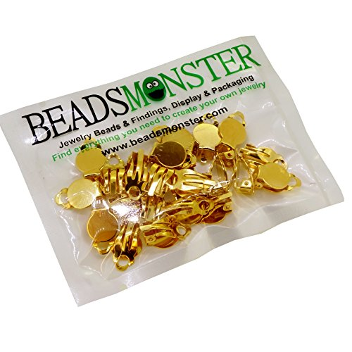 BeadsMonster Flat Round Tray Iron Clip-on Earring Findings for Jewelry Making, 10mm Paddle Back (Gold)