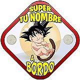 Placa bebé a bordo Super Guerrero parodia de Goku personalizable con nombre