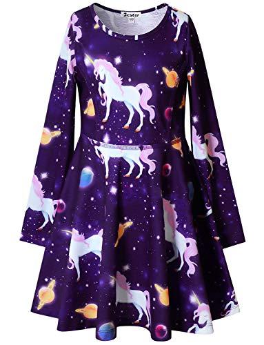 Jxstar Mädchen Langarm Desss Cat Einhorn Blumendruck Outfits 4-5Y / Höhe: 43