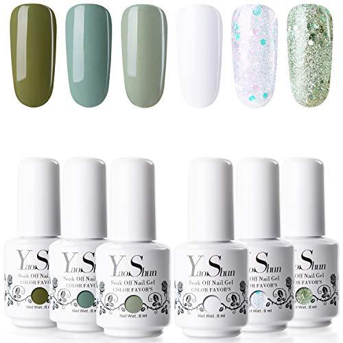Gel Nail Polish - YaoShun Gel Polish Kit Summer Matcha Series Soak Off Nail Gel, UV LED Nail Gel 6 Colors Gift Box French Manicure Nail Art Gift Set 8ml