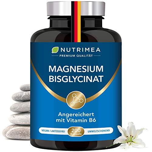 Magnesium Glycinat + Vitamin B6 | Optimale Bioverfügbarkeit | 3 Monatsvorrat | 200 Kapseln Hochdosiert Magnesiumcitrat + Bisglycinat OHNE Zusatzstoffe Entspannung Schlaf Muskeln Nerven Anti Stress