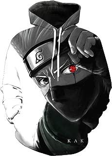 JJCat Men's Hooded Long Sleeve Naruto KaKaWest Print Couple Pullover 3D Hoodies