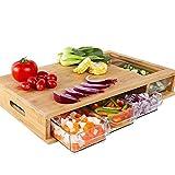 QIYIFANGZHI Cutting Board Bambú Tabla de Cortar, con 4 bandejas Tabla de Cortar con el contenedor de Almacenamiento de bambú Food Kitchen Organizador de Herramientas de Corte Safe