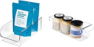 iDesign boîte de rangement, bac plastique moyen pour le placard ou le frigo & boîte de rangement à poignée, petit bac plas...