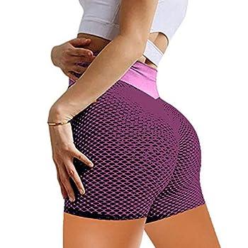 Five-Point Pants Peach Hip Shorts Fitness Yoga Pants High Waist Jacquard Honeycomb Bubble Leggings Fitness Pants  OPP