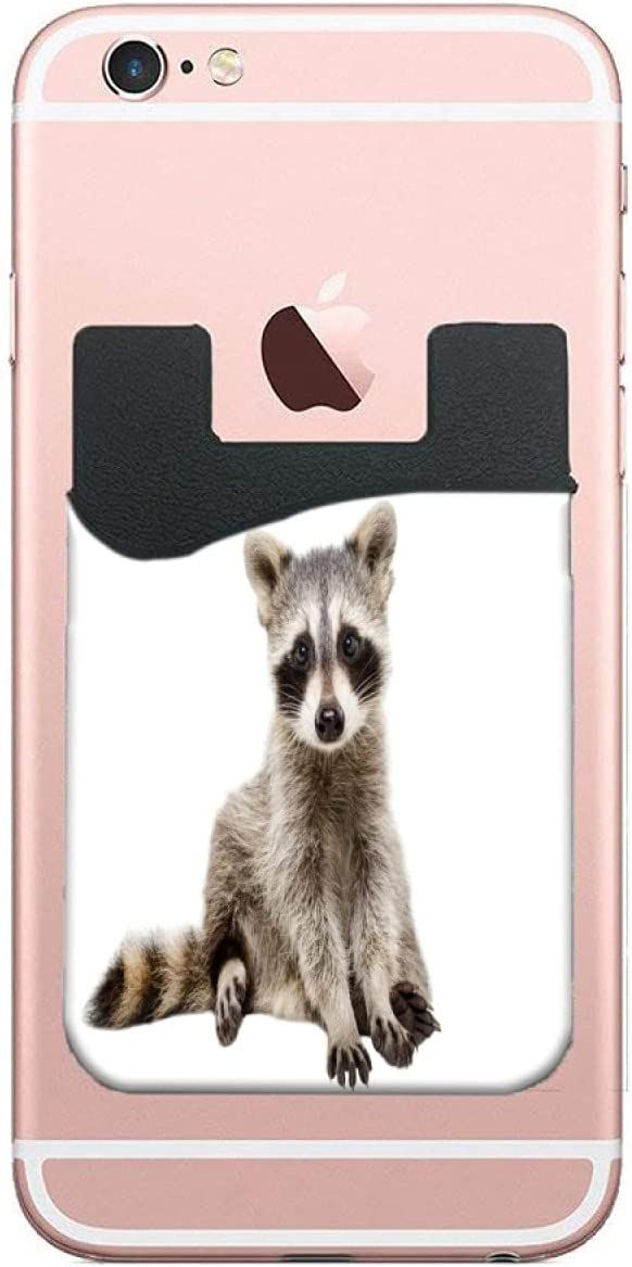 ZXZNC Card Holder for Back of Phone Funny Raccoon On White Background Leather Phone Pocket Phone Case Credit Debit Id Card Holder Sleeve Adhesive Stick On Wallet for Back of Cell Mobile Smart Phone