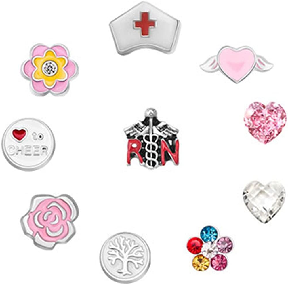 Chris Johnsons Nurse Heart Flower Floating Charms for Glass Living Memory Lockets Necklace