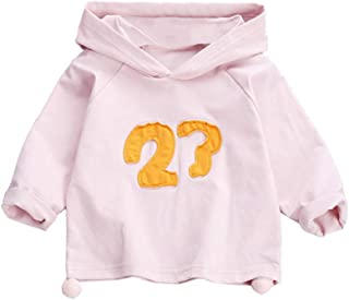 Xifamniy Infant Girls Cotton Tops Long Sleeve Letter Print Solid Color Hooded Sweatshirt Pink