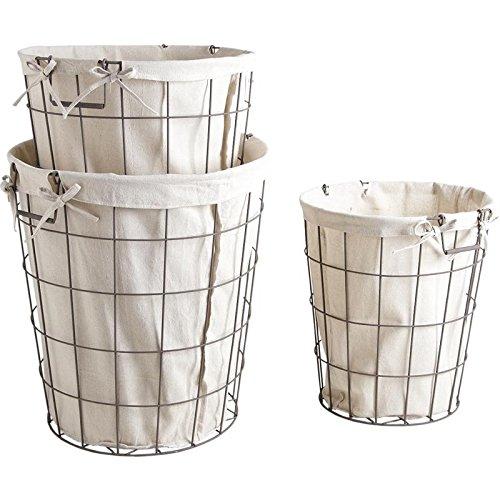 Inconnu Série de 3 paniers corbeilles à Linge Blanc en métal Vieilli