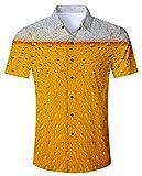 RAISEVERN Männer hawaiianischen Aloha Hemd Short Sleeve Tropical Blumendruck - Hemd Bier