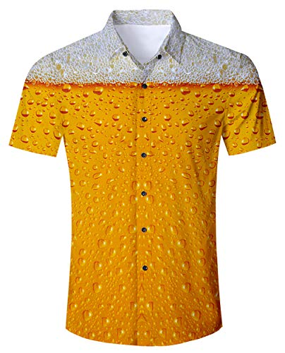 RAISEVERN Male Regular Fit kühlen Bier - Party gedruckt kurzen Ärmeln Button - Down - Hawaii - Hemden Aloha orange