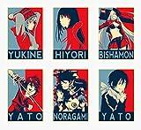 Wall Art Noragami Anime Characters Hiyori Yukine Bishamon Yato Poster Prints Set of 6 Size A4 (21cm x 29cm) Unframed GREAT GIFT