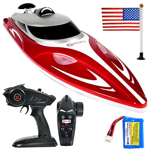 Contixo T1 RC Boat – Remote Control Boat for Pools and Lakes, Fast RC Boats for Adults and Kids with 15+ mph Speed, 4 Channel 2.4 GHz Remote Control, and Rechargeable 1100mAh Battery, Play 20 min