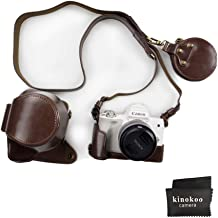 EOS M50 Case, kinokoo Travel Storage Case Canon EOS M50 15-45mm Lens,PU Leather Cover Bag Protector Case,Coffee