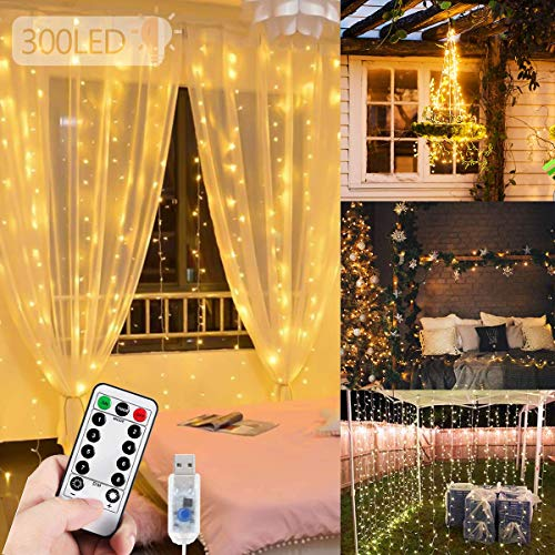 WEARXI Fairy Curtain Gazebo Lights - 300 LED Hanging Fairy Lights, 3M 8 Modes String Lights Bedroom, Hanging Wall Waterfall Light for Indoor, Outdoor, Christmas, Wedding, Party, Window Home Decoration