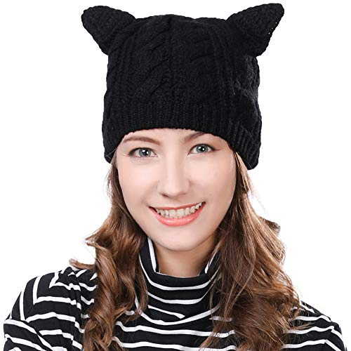Siggi Bonnet Femme Laine Chat Oreilles Chapeaux d'hiver pour Fille Beanie Laine PussyCat Noir
