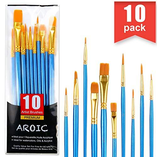 Juego de pinceles de pintura acrílica, cepillos de pelo de nailon para todo tipo de uso, óleo, acuarela, pintura artística, kits profesionales