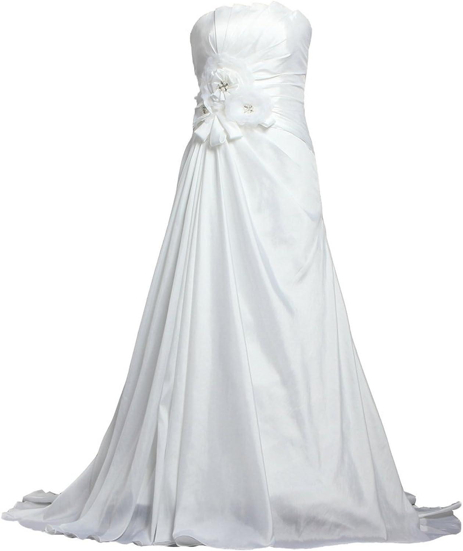 ANTS Strapless Pleat Taffeta Bridal Dresses for Wedding