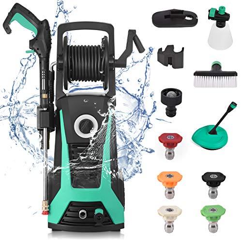 Limpiador de alta presión (135 bar, 1800 W, 480 L/h, manguera de alta presión de 5 m, cable de 5 m), lavado de coches, limpieza de suelo, limpieza de casa, multifunción.