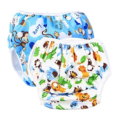 SINSEN Pannolini da Nuoto (Confezione da 2), Costume Neonato, Costume Contenitivo Neonato, Pannolini Lavabili, Pannolini Lavabili Neonato(0-3 Anni)