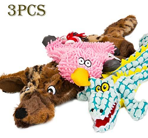 WEIZSTYLE - Juguete para Perro chirriante, sin Relleno, Juguete de Peluche para Perros pequeños, medianos y Grandes, Lobo marrón, cocodrilo, Pato