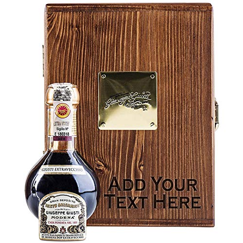 Giusti Aceto Balsamico Tradizionale di Modena DOP - 25-Year Affinato Grade Balsamic Vinegar - Imported from Modena - Personalized Engraved Wooden Gift Box