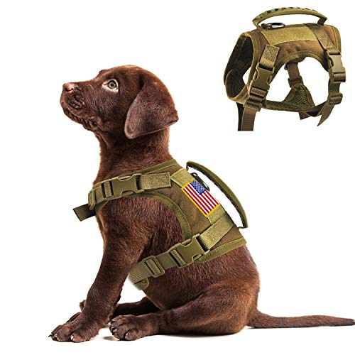 Tactical Service Dog Vest Harness Outdoor Training Handle Water-Resistant Comfortable Military Patrol K9 Dog Harness with Handle (XS, Khaki)