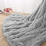 Homore Soft Fluffy Blanket Fuzzy Sherpa Plush Cozy Faux Fur Throw Blankets for Bed Couch Sofa Chair Decorative, 50''x60'' Grey