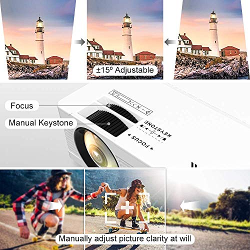"""QKK Mini Projector 6500Lumens Portable LCD Projector [100"""" Projector Screen Included] Full HD 1080P Supported, Compatible with Smartphone, TV Stick, Games, HDMI, AV, Projector for Outdoor Movies"""
