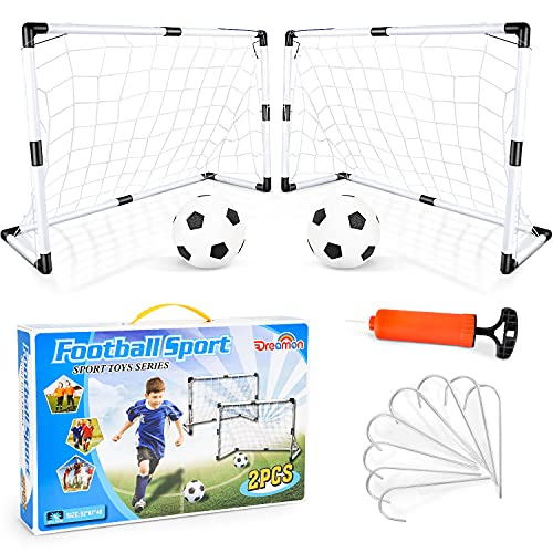 Dreamon Set of 2 Kids Football Goal Post Net with Ball Pump Indoor Outdoor Soccer Sport Games Children Training Practice Toy Set