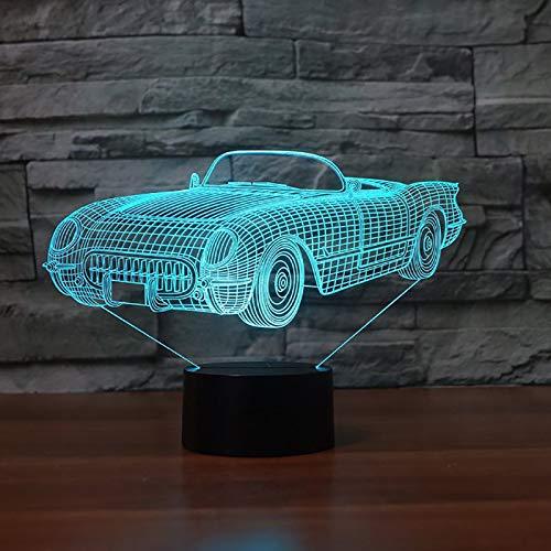 KangYD 3D Night Light Visual Racing Car, LED Optical Illusion Lamp, E - Alarm Clock Base(7 Color), Bar Decor, Decor Gift, Birthday Gift, Halloween Gift, Decor Lights
