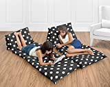 Sweet Jojo Designs Black and White Polka Dot Kids Teen Floor Pillow Case Lounger Cushion Cover (Pillows Not Included)