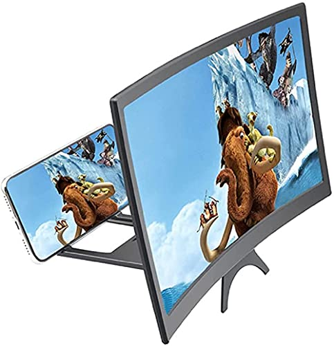AFXOBO 12'' 3D Curve Screen Magnifier, Foldable Mobile Phone Screen Amplifier for Movies Videos Gaming Supports All Smartphones