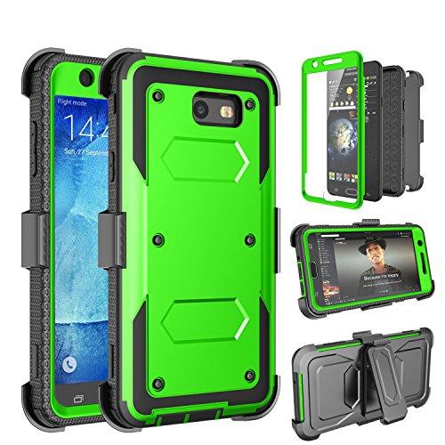 Tinysaturn Galaxy J7 2017 Case, J7 Perx Case, J7 Sky Pro Case, [Yvenus]Shockproof Holster Built-in Screen Protector Belt Clip Kickstand Rugged Phone Case for Samsung Galaxy J7 2017/J7 Prime/J7 V-Green