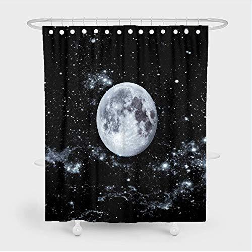 Duschvorhang-Set mit Mond-Motiv, Schwarz-Weiß, Sternenmotiv, Galaxie, Weltraum, Nacht, Sterne, Landschafts-Muster, wasserdichtes Polyestergewebe, Badezimmer-Dekoration, 183 x 183 cm, mit 12 Haken
