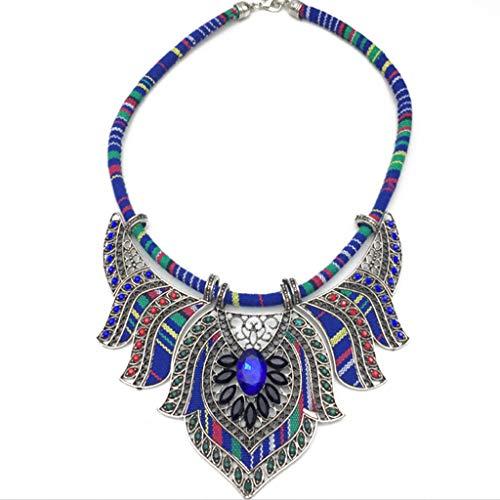 Joocyee Chunky Babero Declaración Torque Gargantilla Bohemia Indio Africano Egipto Collares Tribales, Un Colorido Collar de Diamantes, A