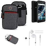 K-S-Trade® Gürtel-Tasche + Kopfhörer Für -Archos 55 Graphite- Handy-Tasche Schutz-hülle Grau Zusatzfächer 1x